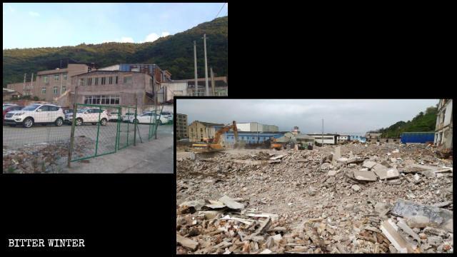 Le lieu de rassemblement d'une église de maison dans la ville de Tangxia avant et après la démolition.