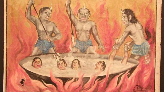 Une représentation bouddhiste de démons torturant ceux qui ont commis des actes honteux en enfer.
