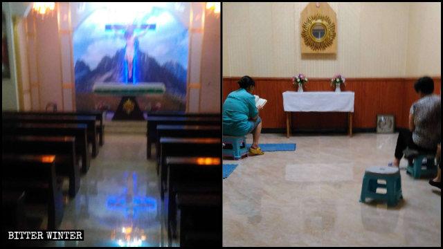 L'Église catholique clandestine avant et après avoir été vidée.