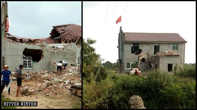 Une église des Trois-Autonomies dans la ville de Shangrao a été démolie de force.