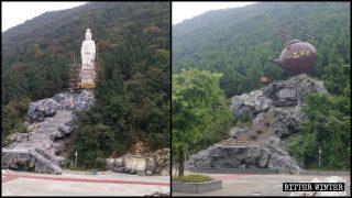 Statue d'une divinité bouddhiste remplacée par une théière géante