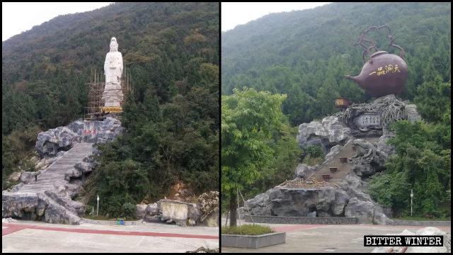 La statue de Nanhai Guanyin a été remplacée par une sculpture en forme de théière.