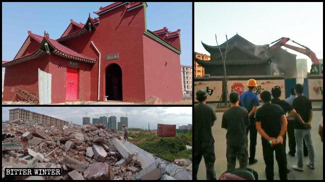 Le temple Fuzhu dans le comté de Nanfeng avant et après la démolition.