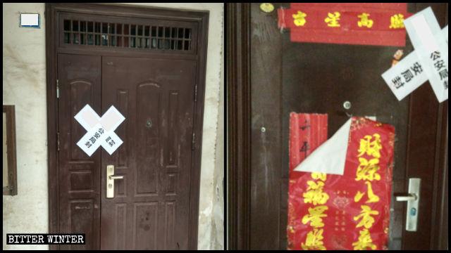 Les entrées des domiciles des croyants arrêtés ont été barricadées après qu'ils ont été embarqués par la police.