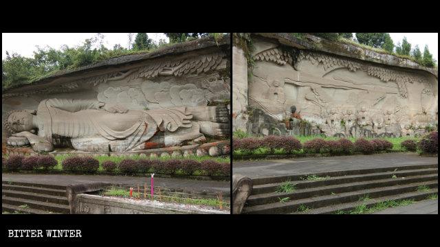 Statue de Bouddha couché sur le mont Lingyun avant qu'elle ne soit couverte.