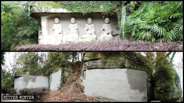 Vingt-quatre statues d'arhats ont été dissimulées derrière des murs de brique.
