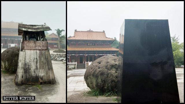 Une statue de Cihang Zhenren a été scellée avec des tôles de fer galvanisé noir.